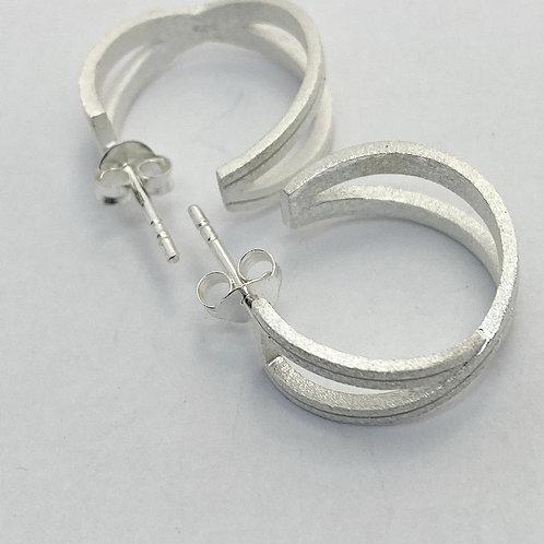 silver Cross over stud earrings