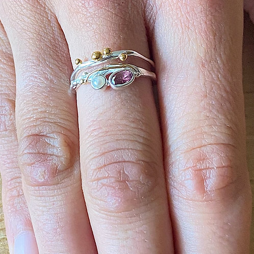 Pink tourmaline and Pearl stacker Ring