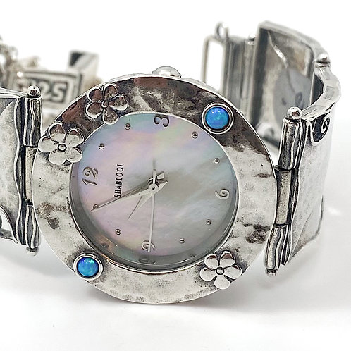 Sterling Silver Flower Opalite Watch
