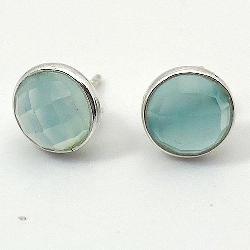 Faceted Aqua Chalcedony Stud Earrings