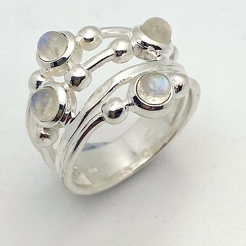 Sterling Silver Ring Set with Moonstone