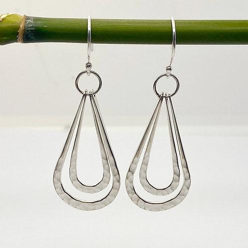 Long Hammered Tear Drop Earrings
