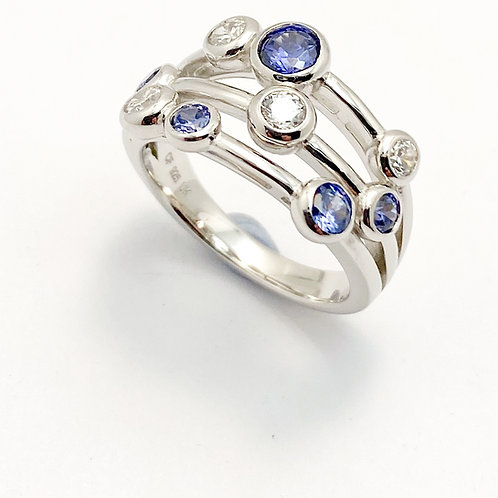 Tanzanite & CZ  set Ring