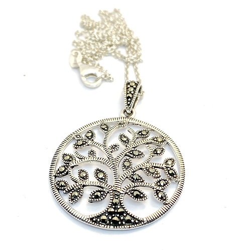 Sterling Silver and Marcasite Tree of Life Pendant