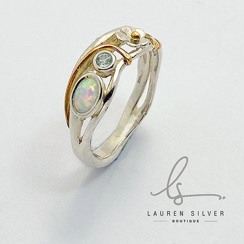 Opalite & blue Topaz & flower  Ring
