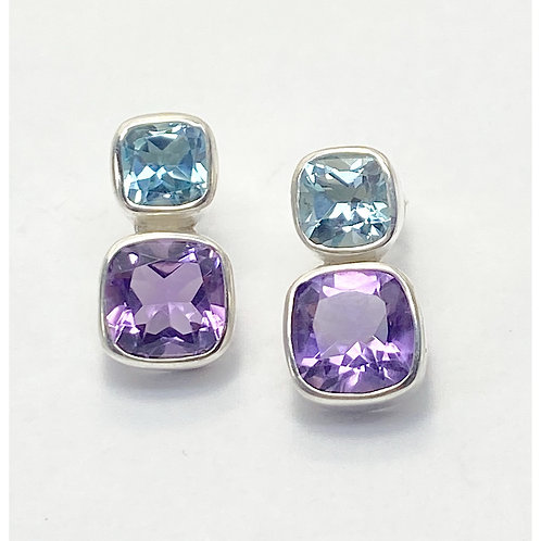 Amethyst and Blue topaz Studs
