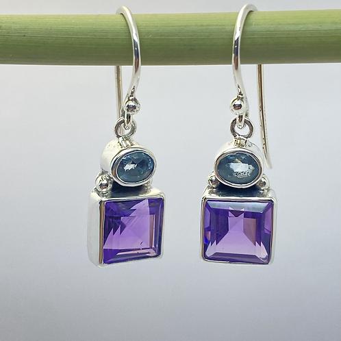 Amethyst and blue topaz drop earrings