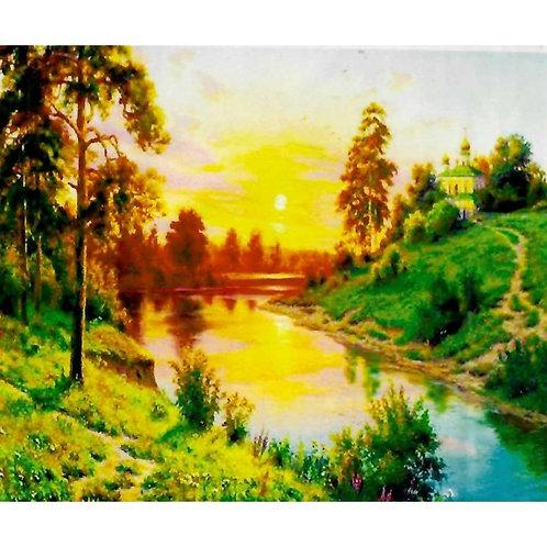 Алмазная живопись 30*40 см ПОЛНОЕ заполнение Закат над рекой Модель: 301260