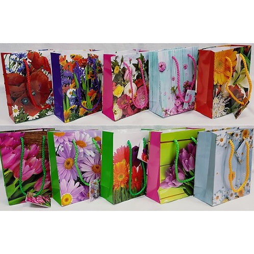 Бумажный пакет 12*15*6 микс цветы F1033