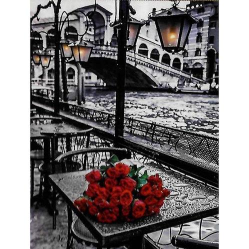 Алмазная живопись 40*50 см ПОЛНОЕ Розы, улица, фонарь Модель: 301235