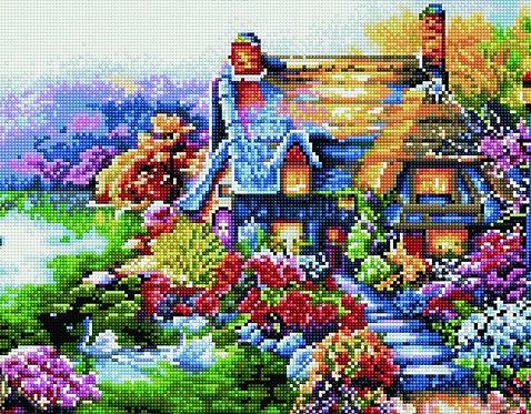 Алмазная мозаика 40х50 QA204581 Сказочный домик
