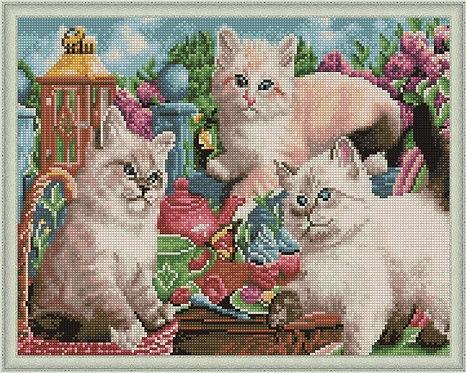 Алмазная мозаика 40х50 QA204577 Игривые котята