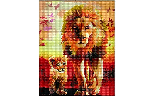 Алмазная мозаика 30х40 QS200284 Лев и львенок