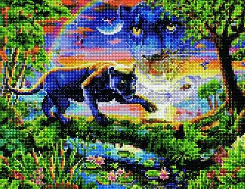 Алмазная мозаика 40х50 QA204590 Черная пантера