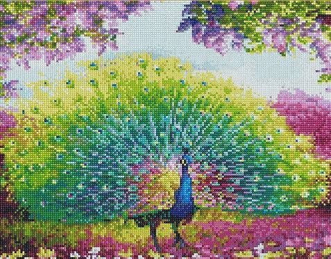 Алмазная мозаика 40х50 QA204188 Красивый павлин