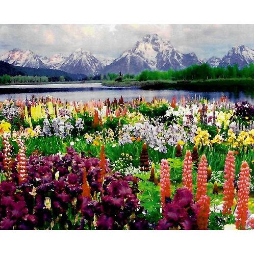 Алмазная живопись 30*40 см ПОЛНОЕ заполнение Горный пейзаж Модель: 301262
