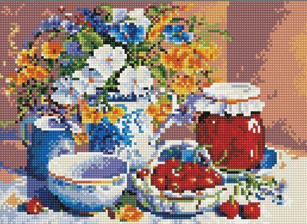 Алмазная мозаика 30х40 QS200292 Цветы и фрукты