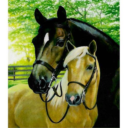 Алмазная живопись 30*40 см ПОЛНОЕ заполнение Пара лошадей Модель: 301255