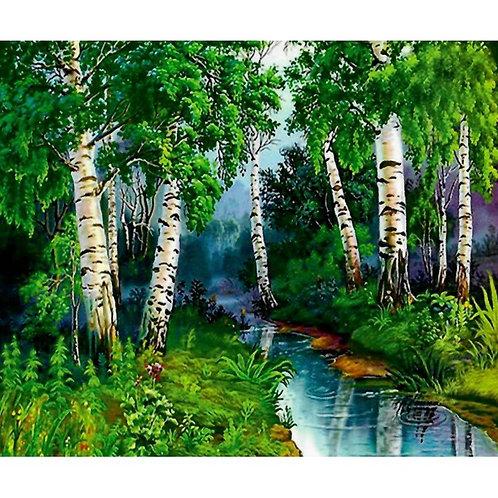 Алмазная живопись 40*50 см ПОЛНОЕ заполнение Березовый лес Модель: 301268