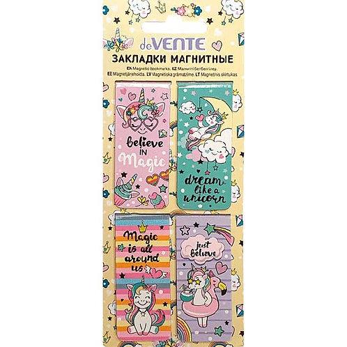 """Закладки магнитные deVENTE """"Unicorn"""" 8065922 (4шт),прямоуг.,25*56,6мм"""