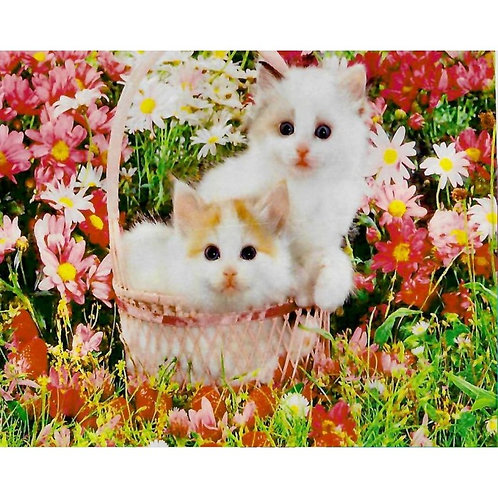 Алмазная живопись 30*40 см ПОЛНОЕ заполнение Котята в корзине Модель: 301263