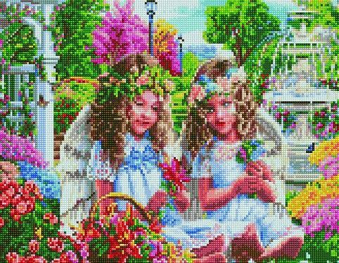 Алмазная мозаика 40х50 QA204585 Два ангелочка