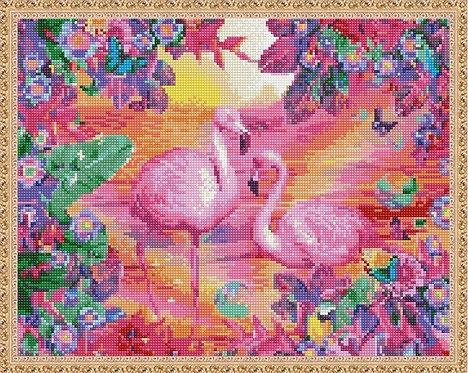 Алмазная мозаика 40х50 QA203709 Розовые фламинго