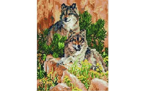 Алмазная мозаика 30х40 QS200452 Волки в горах
