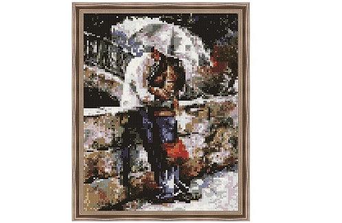 Алмазная мозаика 30х40 QS200224 Влюбленные под зонтом