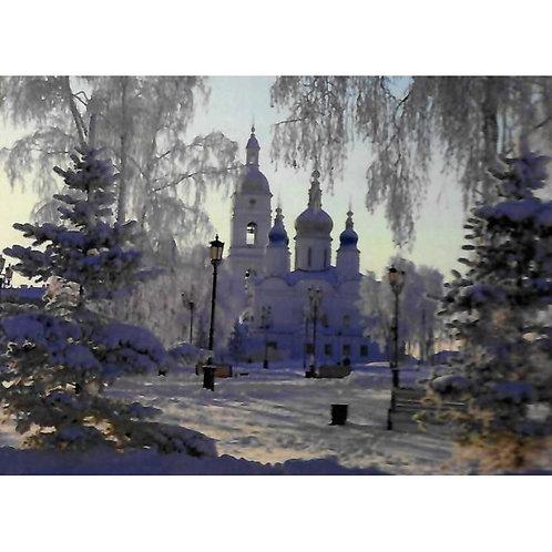 Алмазная живопись 40*50 см ПОЛНОЕ Зимний храм Модель: 301238