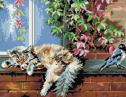 Алмазная мозаика 40х50 QA201987 Спящий котенок