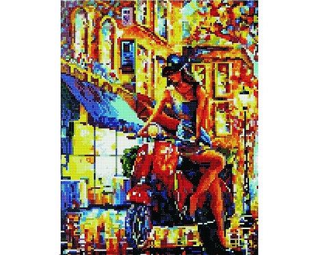 Алмазная мозаика 40х50 QA204592 Девушка на мотоцикле