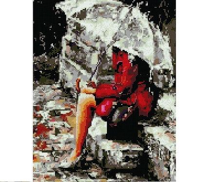 Алмазная мозаика 40х50 QA204574 Под зонтом