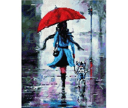 Алмазная мозаика 40х50 QA204593 Прогулка под дождем