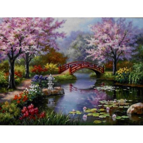 Алмазная живопись 40*50 см ПОЛНОЕ Мостик в саду Модель: 301251