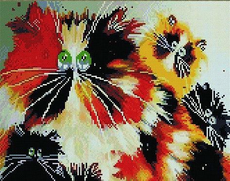 Алмазная мозаика 40х50 QA204601 Веселые коты