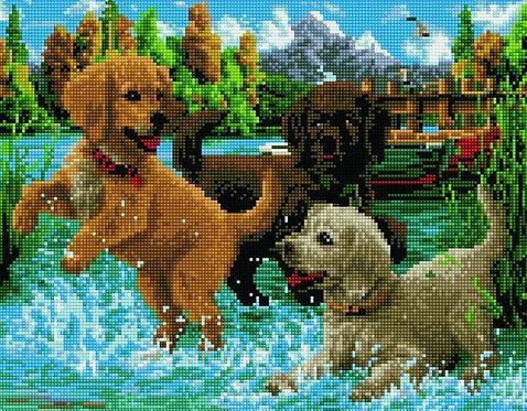 Алмазная мозаика 40х50 QA204602 Игривые щенки