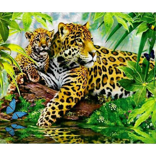 Алмазная живопись 40*50 см ПОЛНОЕ заполнение Леопарды Модель: 301264