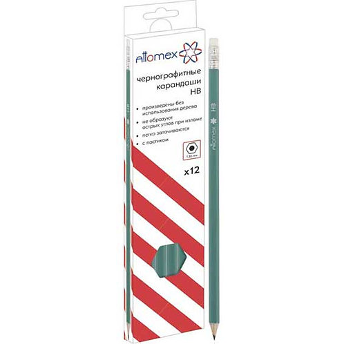 Карандаш ч/гр. пластик. с ласт. ATTOMEX 5032601 HB,зеленый корп.