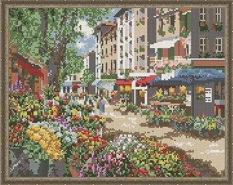 Алмазная мозаика 40х50 QA200041 Цветочная улица
