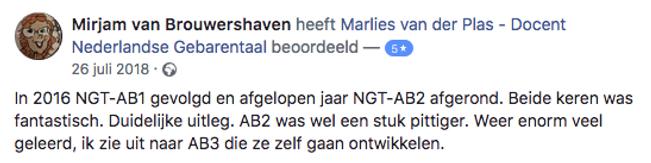 Faceook review van gebarentaalcursus.nl