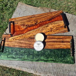 Wood and resin serving platters by Olive Oak Wood