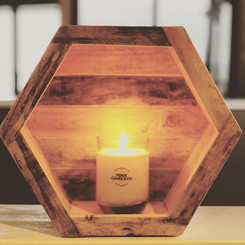 Scented candle in repurposed glass by Fenix Candle Co