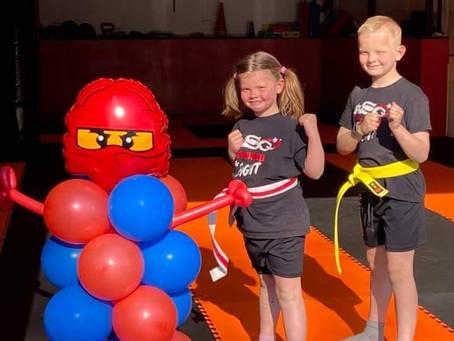 Students with our Ninja Ballons