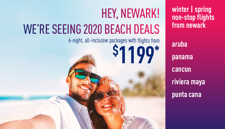 Winter/Spring All inclusive beach vacation promotions from Newark 2019/2020