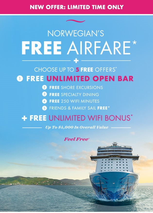 Norwegian Cruise Line Limited Time FREE airfare promo!