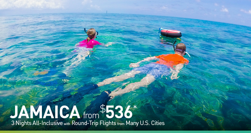 Jamaica all  inclusive deals with flights from $536 per person. Payment plans and cancel for any reason  insuance available.