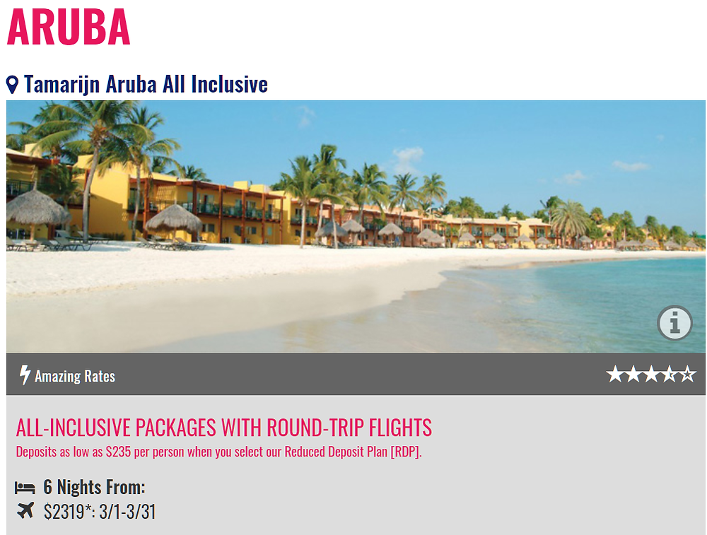 Tamarijn Aruba All Inclusive Promo from Newark