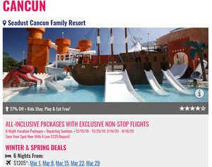 Seadust Cancun All Inclusive Promo from Newark