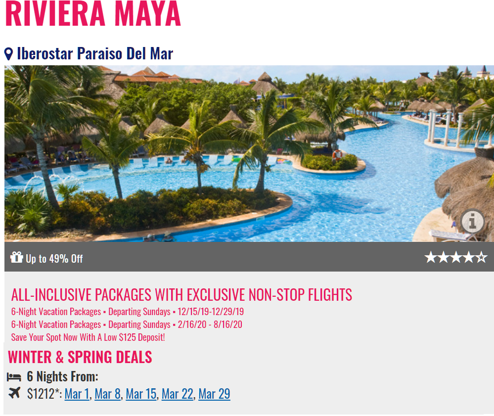Iberostar Paraiso Del Mar All Inclusive Promo from Newark